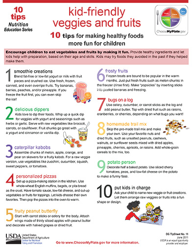 Encourage children to eat vegetables and fruits by making it fun. Here are 10 east steps!