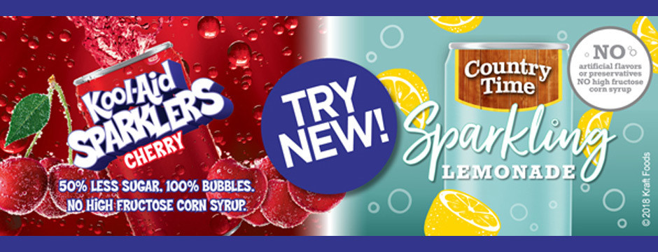 Try New Kool•Aid Sparklers and Country Time Sparkling Lemonade