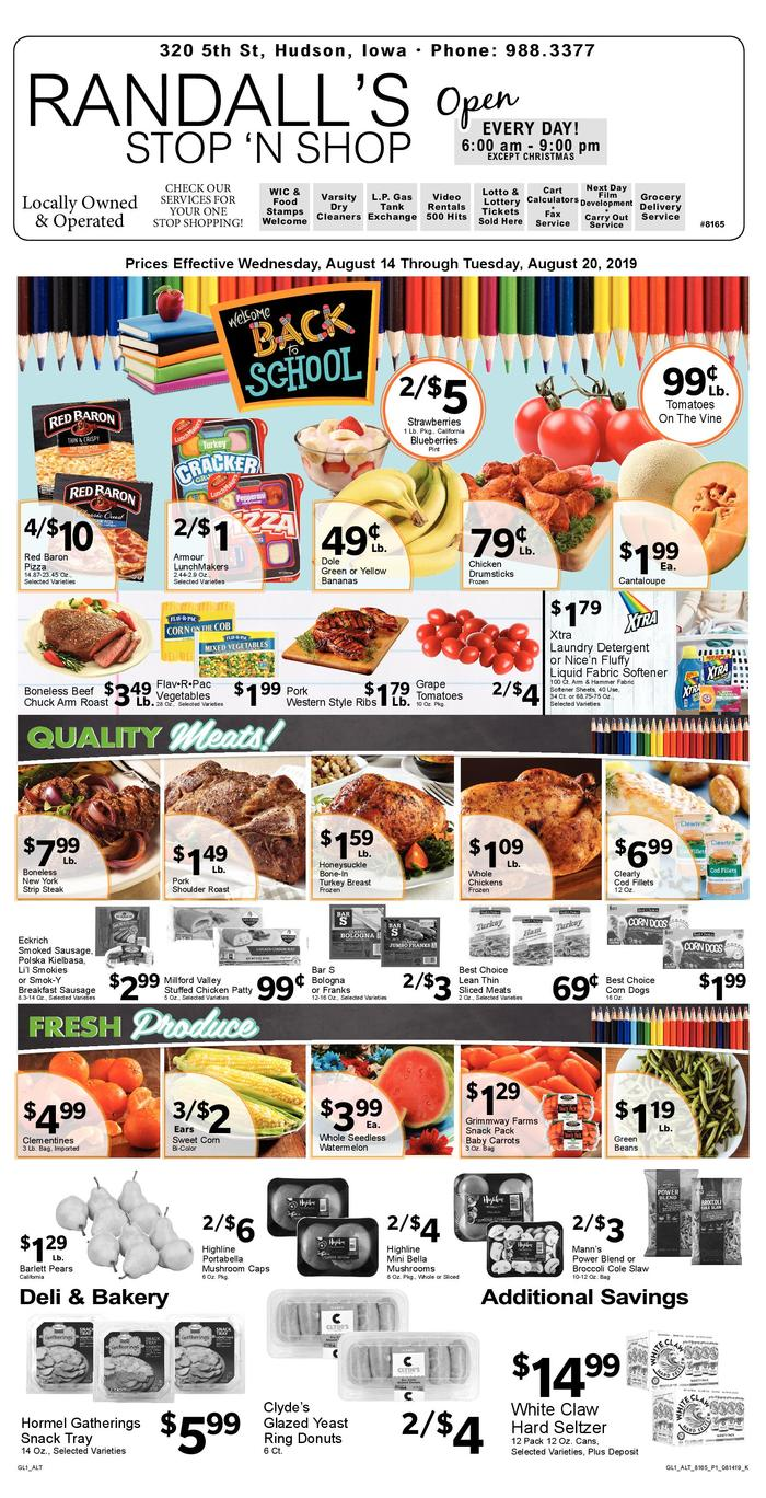 Stop N Shop Hours >> Randall S Stop N Shop Ad Specials